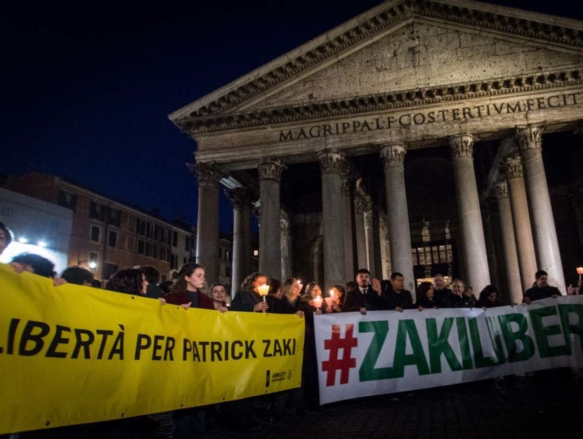 Patrick Zaki manifestazione Roma