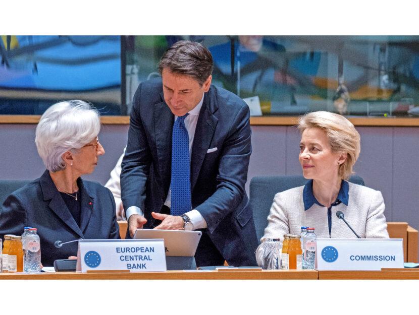 Giuseppe Conte fra Christine Lagarde e Ursula Von der Leyen