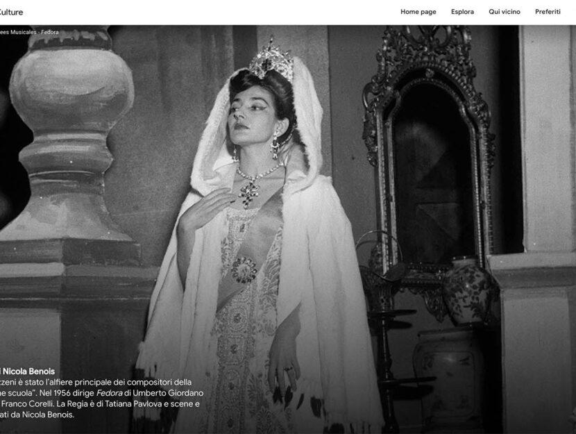 Maria Callas in Fedora 1955, Vestire Maria Callas, Teatro alla Scala Google Arts & Culture