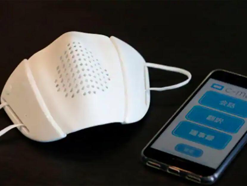 """La """"c-mask"""" di Donut Robotics, startup giapponese che ha creato la prima mascherina connessa a inter"""