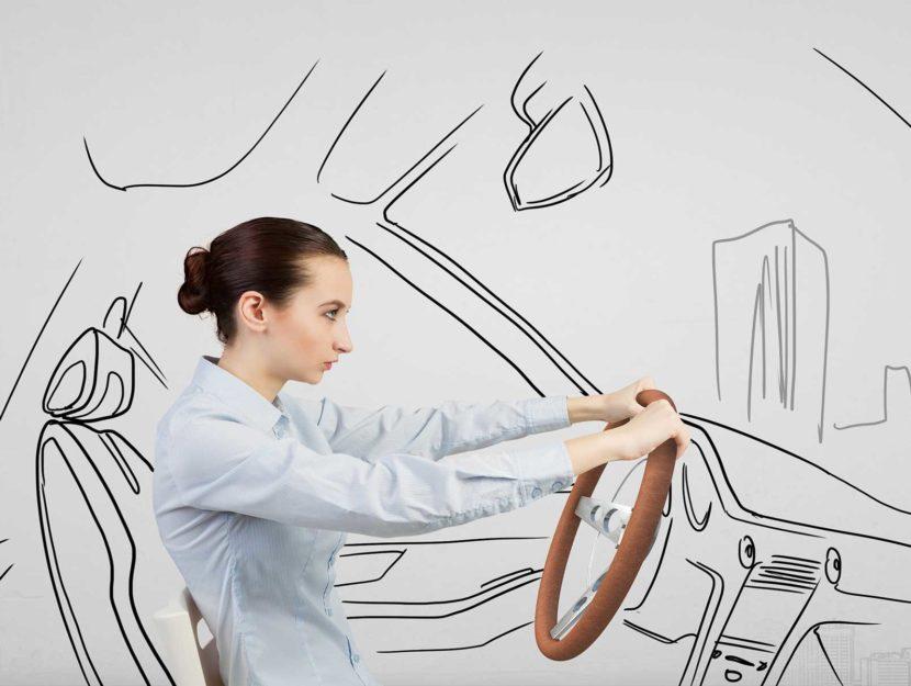 Ragazza guida macchina illustrazione