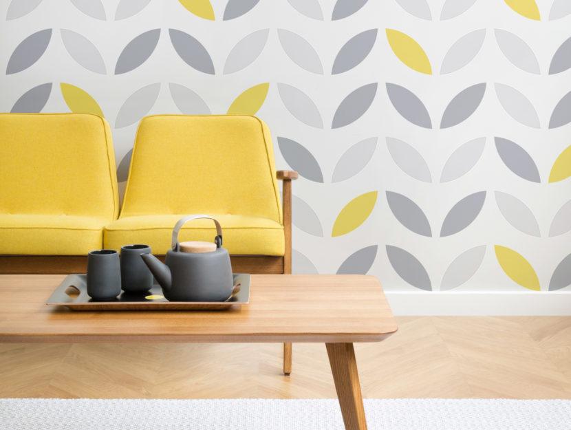 Giallo grigio Petal-Print_Room