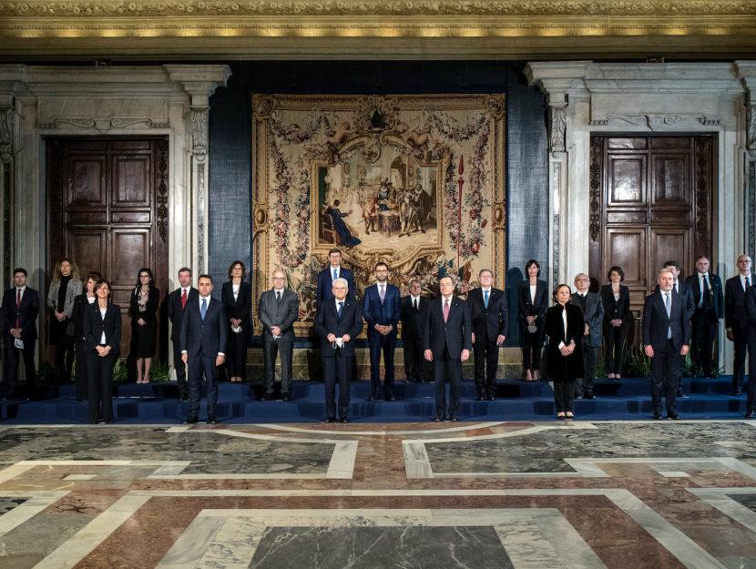 I ministri del governo di Mario Draghi con il presidente della Repubblica Sergio Mattarella, Roma, 1