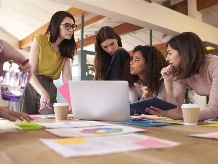 squadra, team, riunione, lavoro, donne, persone da avere in squadra