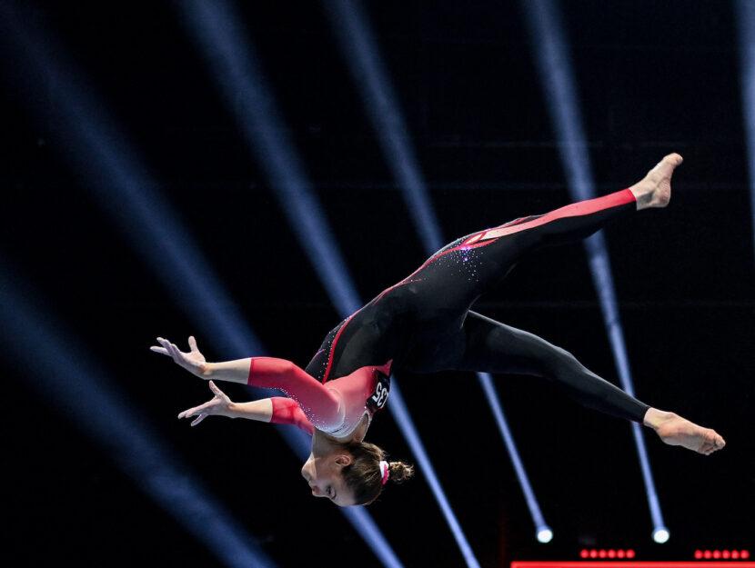 La ginnasta tedesca Sarah Voss agli Europei di Basilea