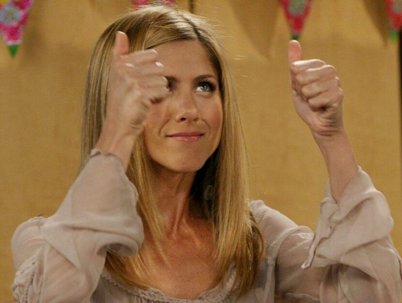 Jennifer Aniston sul set di Friends