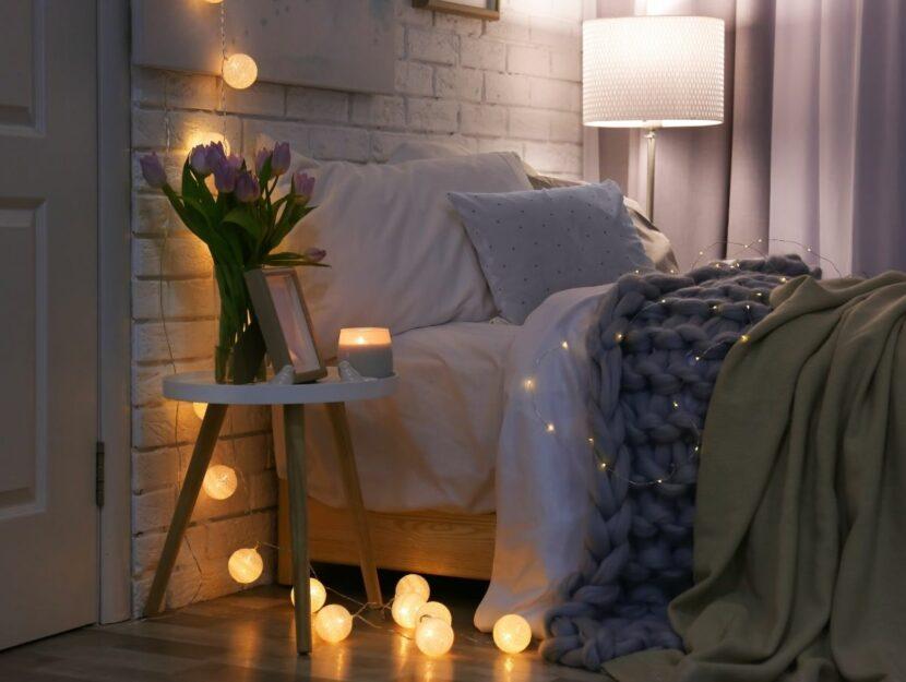 illuminazione in camera da letto, luce rilassante, relax,