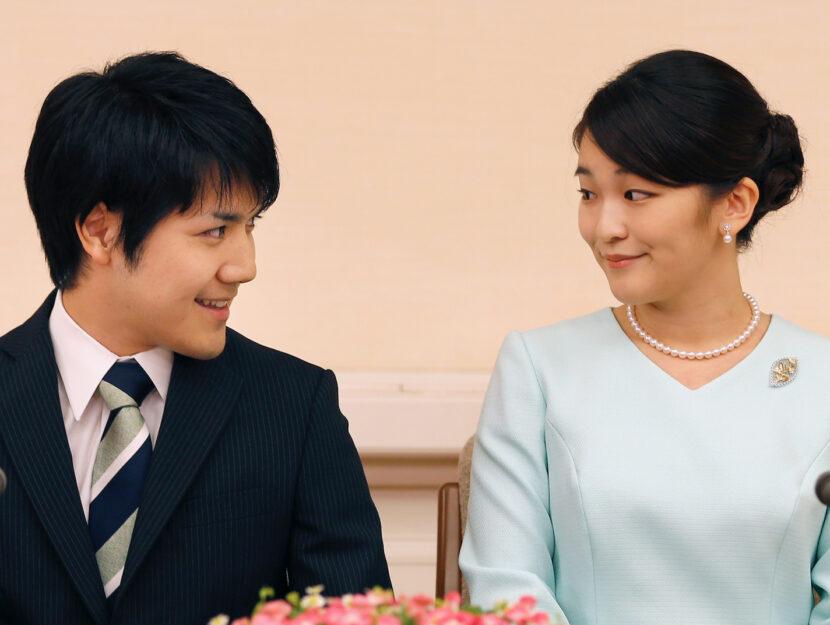 La principessa Mako e il fidanzato Kei Komuro alla conferenza stampa di presentazione della loro rel